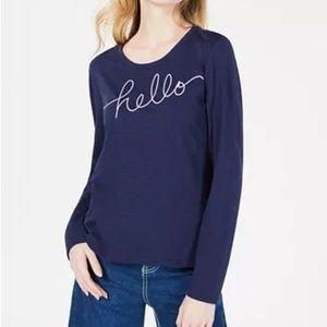 Maison Jules  Hello-Goodbye Graphic Top  Navy Blue